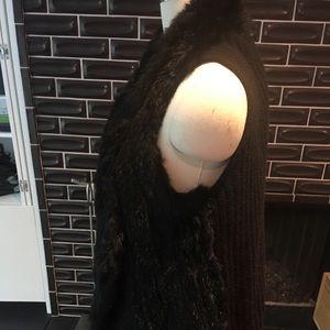 ply cashmere Sweaters - Rabbit Fur vest cashmere ribbed back  size m